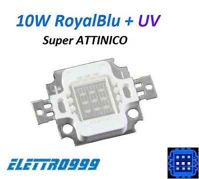 LED 10W IBRIDO Royal Blu + UV 395-400nm mix Super ATTINICO per acquario marino.