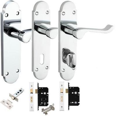 Epsom, Chelsea Door Handles Lock Latch or Bathroom Sets Packs in Polished Chrome