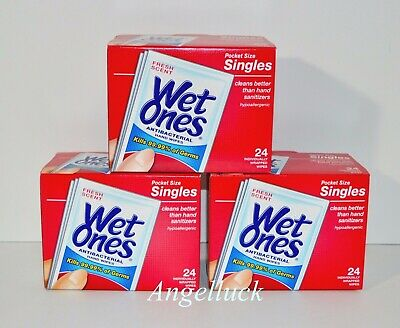 3 Boxes Wet Ones Antibacterial Hand Wipes Singles Fresh Scent 24 Wipes Each Box