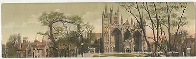 Peterborough Cathedral, West Front Vintage Panoramic UK Postcard