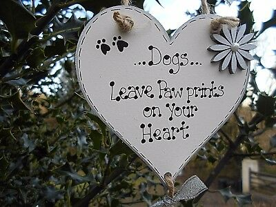 💞New Personalised 'Dogs leave paw prints' memorial gift, plaque heart sign💞