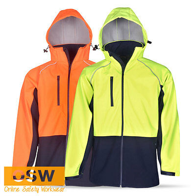 Hi Vis Mens Ladies Day Safety Waterproof Windproof Soft Shell Hooded Jacket