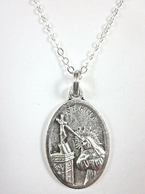 "St Rita of Cascia Medal Italy Pendant Necklace 20"" Chain Gift Box & Prayer Card"