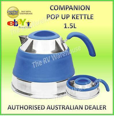 Pop Up Kettle 1.5L Companion Blue New Camping Caravan Boat Collapsible New