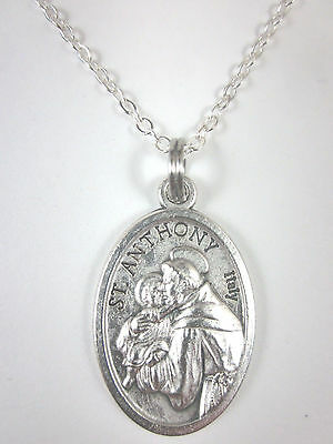 """Silver Plated St Anthony of Padua Medal Italy Pendant Necklace 20"""" Chain"""