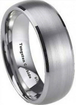 New Boxed Tungsten Carbide Mens Wedding Engagement Comfort Fit Band Ring 8mm
