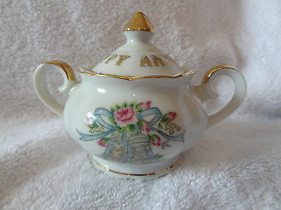 "Lefton Sugar Bowl w/Handles and Lid ""Happy Anniversary"" 5884"