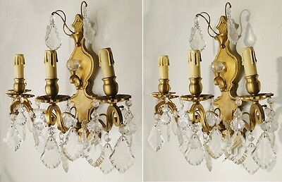 Antique 3 French sconces Solid chiselled bronze platelets carved glass bottons
