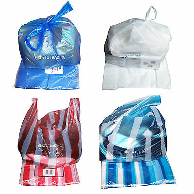 Wilco Plastic Vest Carriers Bags Blue White Or Candy Stripe Full Range Of Sizes