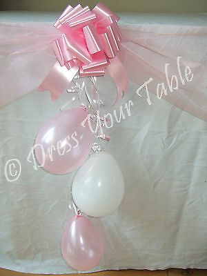 Baby Girl Christening Day Party Table Decoration Pack - Organza, Balloons & Bows