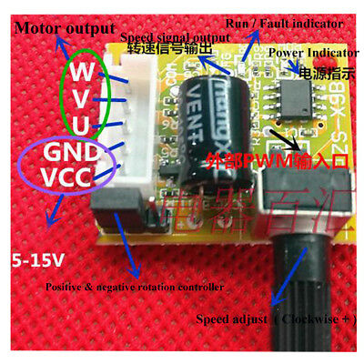 15W 5V-15V 3-phase DC Brushless Motor Driver Speed Controller Direction Control