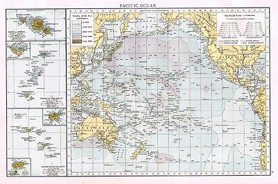 PACIFIC OCEAN Showing Sea Depths in Fathoms and Islands - Antique Map 1899
