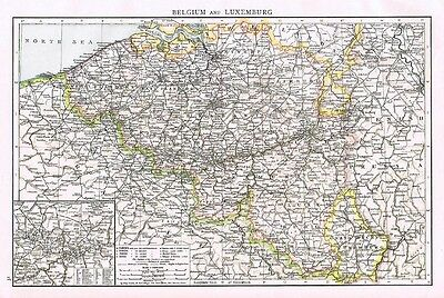 BELGIUM and LUXEMBOURG Showing inset of  Charleroi - Antique Map 1899