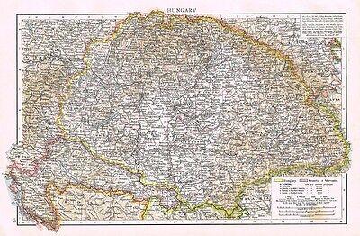 HUNGARY with Croatia and Slavonia Showing Town Populations - Antique Map 1899