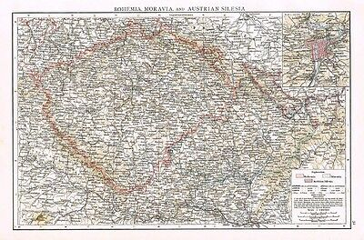 BOHEMIA, MORAVIA and AUSTRIAN SILESIA with inset of Prague - Antique Map 1899