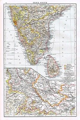INDIA (S) Showing British, French and Portuguese Possessions - Antique Map 1899