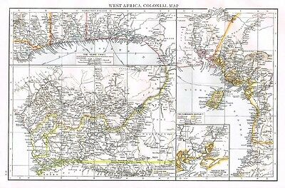 WEST AFRICA COLONIAL MAP Showing European Possessions - Antique Map 1899