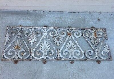 Antique Ornamental Fancy Pediment Panels Cast Iron Scrollwork Window Guards