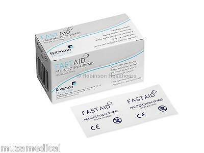 FastAid Alcohol Wipes Pre Injection Swabs IPA Alcohol- Box of 100