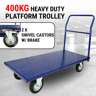 Platform Trolley Heavy Duty 400kg, Metal Frame Handtruck Pushcart