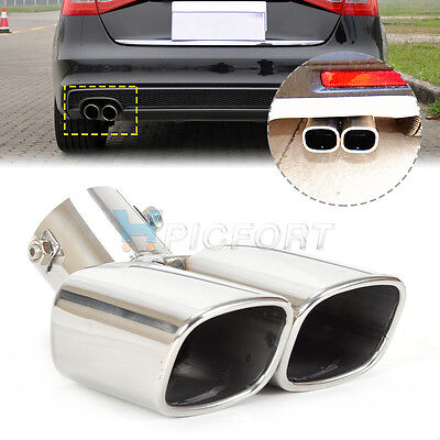 <5.8cm Universal CURVED Exhaust Tailpipe Tail Pipe Rear Muffler End Trim Chrome