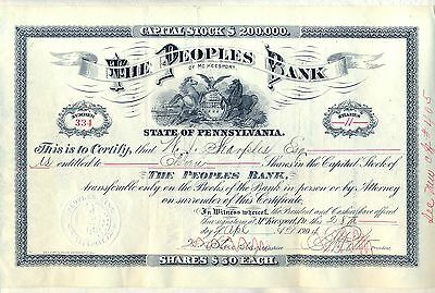 1904 The Peoples Bank of McKeesport Stock Certificate Pennsylvania