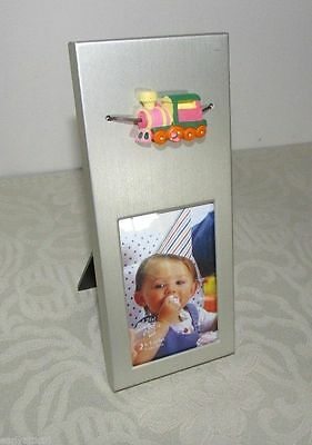 "Baby Frame with 3-D Train Brushed Silver Metal 2"" X 3"" by GWI Frames"