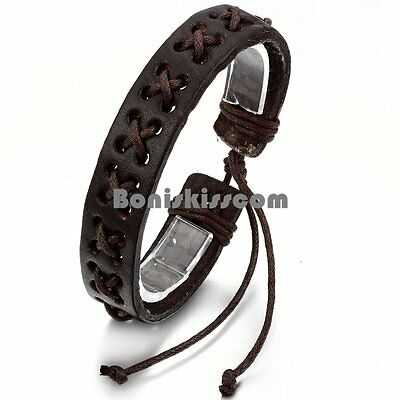 Handcrafted Brown Leather Rope Wrap Adjustable Bracelet for Men