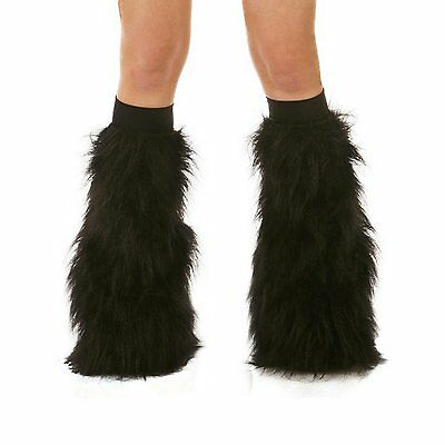 Black Rave Furry Fluffy Gogo Fluffies With Black Kneebands Halloween New Years
