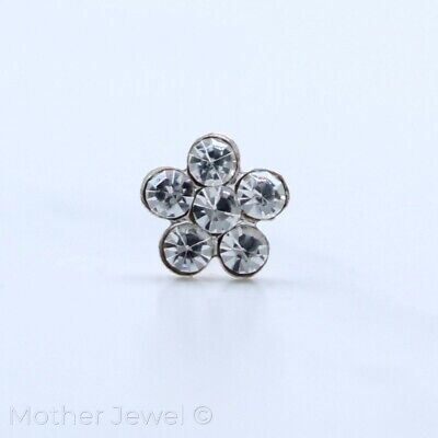 Real Solid 925 Sterling Silver Clear Crystal Flower Straight End Nose Stud Bone