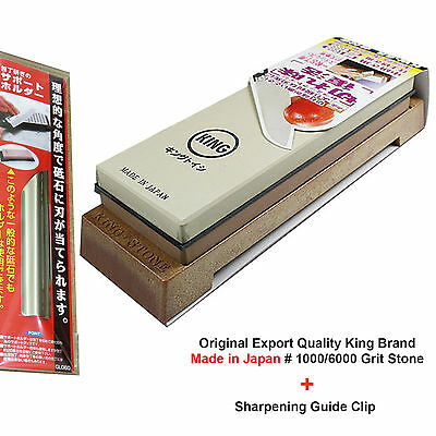 Original KING 1000/6000 Grit Sharpening Stone Whetstone Water Stone + Knife Clip
