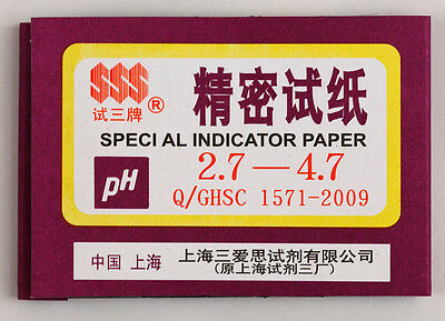 1 Pack / 80 strips of pH 2.7-4.7 Special Indicator Paper test Lab Water Soil