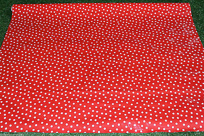 Red Dots Mexican Oilcloth PVC Cotton Waterproof 60 X 50 Cm Craft Supplies