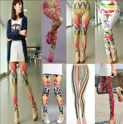 Sexy Women's Skinny Colorful Punk Funky Leggings Stretchy Pencil Tight Pants