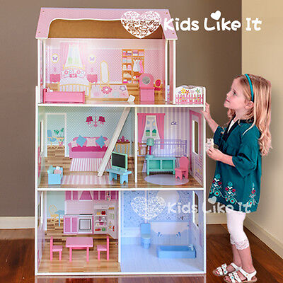 New GIRLS Pink DAISY Wooden 116CM Pretend PLAY Doll DOLLS HOUSE Full FURNITURE