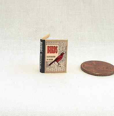 BIRDS ILLUSTRATED Dollhouse Miniature Book 1:12 Scale Readable Illustrated Book