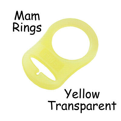 100 MAM Ring Button Style Pacifier Clip Adapter - Yellow Transparent Silicone