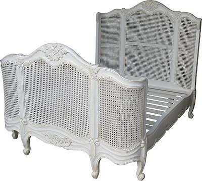 SALE 6' Super King French Style Curved Rattan Bed Antique White Mahogany B003P