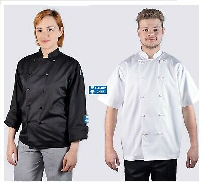 Chef Jacket 100% Luxurious Cotton Fabric -White or Black-Premium Quality Jackets