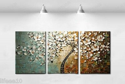 """Modern Abstract """"Tree Flowers"""" Oil Painting Canvas Wall Decor Art  3PC No Frame"""