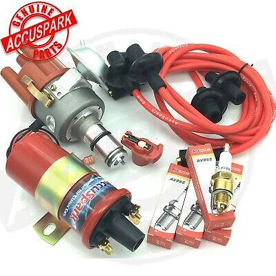 VW Beetle Electronic Distributor Coil,plugs,red leads,red rotor ignition kit V1