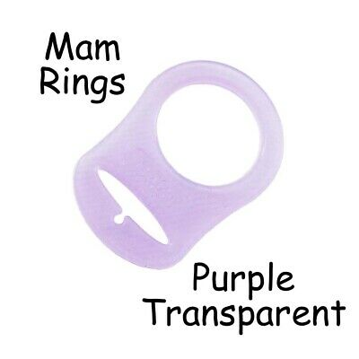 100 MAM Ring Button Style Pacifier Clip Adapter - Purple Transparent Silicone