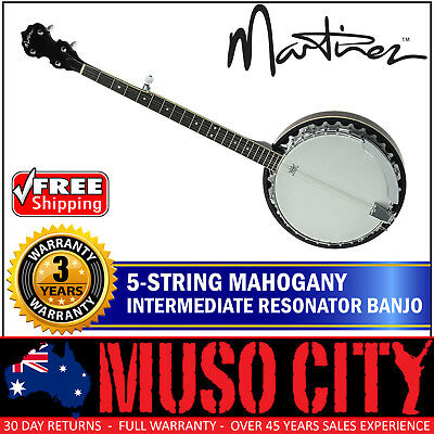 New Martinez Left Handed 5 String Mahogany Intermediate Resonator Banjo (Gloss)