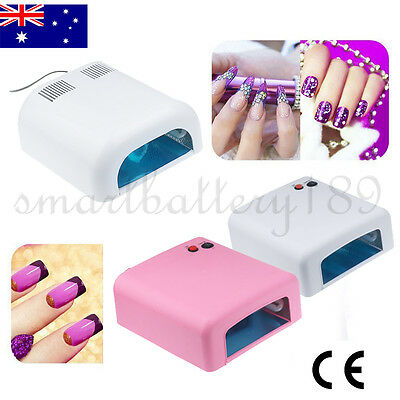 36W UV Light Nail Lamp Gel Polish Manicure Art Curing Table Dryer Timer 4 Bulbs