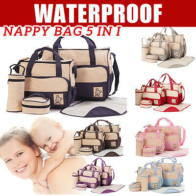 5 pcs Multi Baby Nappy Changing Bag Diaper Travel HandBag Waterproof Shoulder AU