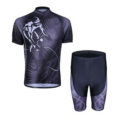 Black Rider Cycling Bike Short Sleeve Clothing Set Jersey + (Bib) Shorts S-3XL