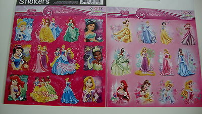 24 Princess Sticker--Disney--Stickers--Cinderella,Dornröschen,Belle,Arielle,...