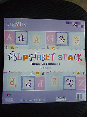 ALPHABET STACK SCRAPBOOKING PAD - Adhesive Alphabet Letters 13 Sheets BRAND NEW