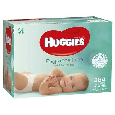Best Price! Huggies Baby Wipe Bulk Pack 384 Wipes Fragrance Free Unscented