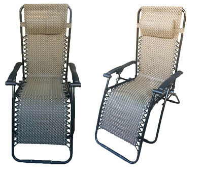 2 x ZERO GRAVITY BROWN TEXTILENE DELUXE FOLDING RECLINER CHAIRS reclining sun